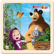 Puzzle pro nejmenší - Na desce, Máša a Medvěd s myškou 20x20cm (Bino)