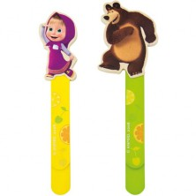 Knižní záložky - Máša a Medvěd dřevěné, 2ks (Bino)