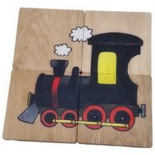 Puzzle pro nejmenší - Maxi, Mašinka a sněhulák, 4ks
