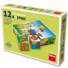 Kostky obrázkové 12ks - Pejsek a kočička retro (Dino)