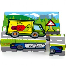 Kostky obrázkové 12ks - Moje první auta (Teddies)