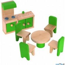 Nábytek pro panenky - Kuchyň s jídelnou (Woody)