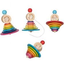 Drobné hračky - Káča dřevěná s provázkem, Duhová, 1ks (Goki)