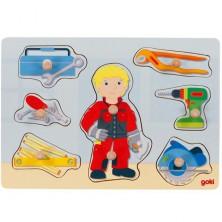 Puzzle vkládací - Řemeslník, 8ks (Goki)