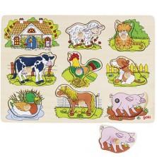 Puzzle muzikální - Domácí zvířátka, 8ks (Goki)