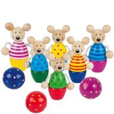 Kuželky dětské - Dřevěné malé, Myšky Speedy (Goki)