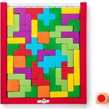 Mozaika - Dřevěný Tetris s kostkou, 48 dílků (Woody)