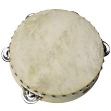 Hudba - Tamburína, Pravá kůžě - 5 rolniček, 20cm (Goki)