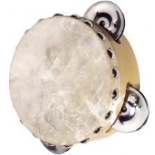 Hudba - Tamburína, Praví kůže - 3 rolničky, 10,5cm (Goki)