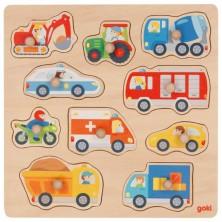 Puzzle vkládací - Dopravní prostředky, 10ks (Goki)