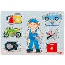 Puzzle vkládací - Automechanik, 8ks (Goki)