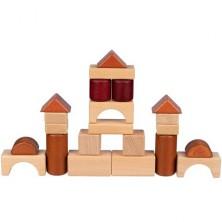 Kostky - Dřevěné přírodní v přepravce, 46ks (Goki)