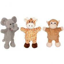 Maňásci - Sada 3ks na ruku - Slon, žirafa, opice (Goki)