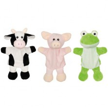 Maňásci - Sada 3ks zvířátek na ruku - Kráva, prase, žába (Goki)