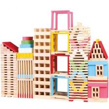 Kostky - Stavebnice dřevěná, Město, 150ks (Mertens)
