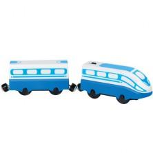 Vláčkodráha vláčky - Elektrická lokomotiva, modrý osobní (Bino)