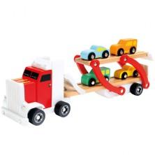Auto - Tahač s návěsem patrový se 4 auty (Bino)