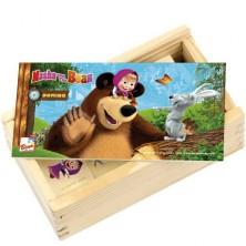 Domino - Máša a Medvěd dřevěné, 28ks (Bino)