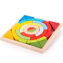 Kostky - Barevné, Oblouky a trojúhelníky, 36ks (Bigjigs)