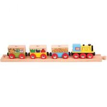 Vláčkodráha vláčky - Nákladní vlak se zeleninou + 2 koleje (Bigjigs)