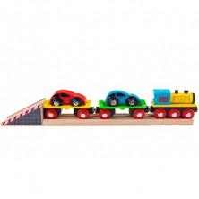 Vláčkodráha vláčky - Nákladní vlak s auty + 3 koleje (Bigjigs)