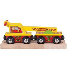 Vláčkodráha vláčky - Vagón s jeřábem + 2 koleje (Bigjigs)