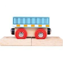 Vláčkodráha vláčky - Vagón nákladní modrý + 2 koleje (Bigjigs)