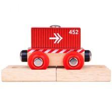 Vláčkodráha vláčky - Vagón červený kontejner + 2 koleje (Bigjigs)