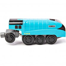 Vláčkodráha vláčky - Elektrická lokomotiva, Mallard modrá (Bigjigs)