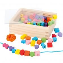Navlékací perle - Set korálků, Tvary v krabičce 84ks (Legler)