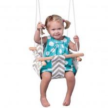 Houpačka - Dětská textilní 100% bavlna šedo-béžová (Woody)