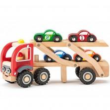 Auto - Tahač dřevěný se závodními auty (Woody)