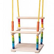 Houpačka - S ohrádkou dřevěná barevná (Woody)