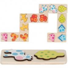 Domino - 3D reliéf, Na farmě dřevěné, 28ks (Goki)