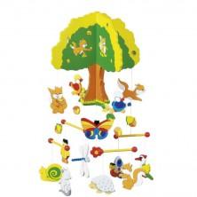 Kolotoč závěsný dřevěný - Strom a lesní zvířátka (Goki)