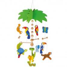 Kolotoč závěsný dřevěný - Palma a exotická zvířátka (Goki)