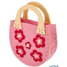 """Kabelka filcová - Růžová oválná s květy, """"Lili"""" (Legler)"""