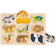 Puzzle odkrývací - Zvířátka a jejich srst, 9ks (Goki)