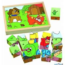 Kostky obrázkové 15ks - Zvířátka a mašinka (Woody)