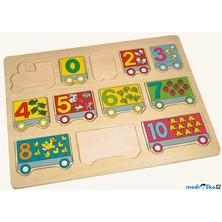 Puzzle výukové - Vlak s čísly na desce, 12ks (Bino)