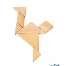 Hlavolam dřevěný - Tangram malý v pytlíku (Goki)