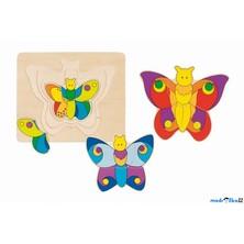 Puzzle vícevrstvé - Motýl, 4 vrstvy (Goki)
