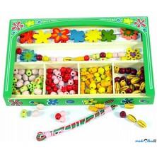 Navlékací perle - Set korálků, Kytičky (Woody)