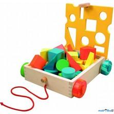 Kostky - Barevné ve vozíku, Rainbow, 28ks (Woody)