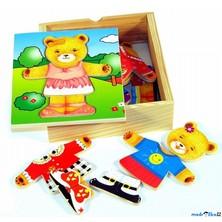 Puzzle oblékání - Šatní skříň medvědice, 18ks (Woody)