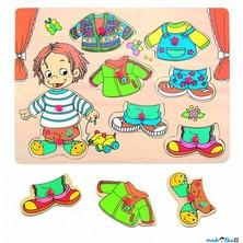 Puzzle oblékání na desce - Šatní skříň kluk, 8ks (Woody)
