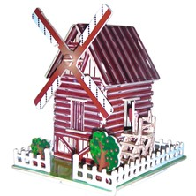 3D Puzzle barevné - Větrný mlýn