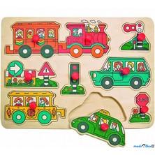 Puzzle vkládací - Doprava (auto, vlak), 9ks (Woody)