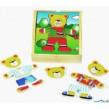 Puzzle oblékání - Šatní skříň medvídek, 18ks (Woody)