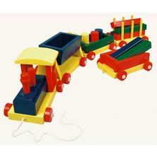 Vlak dlouhý - 4 vagóny s kostkami (Bino)